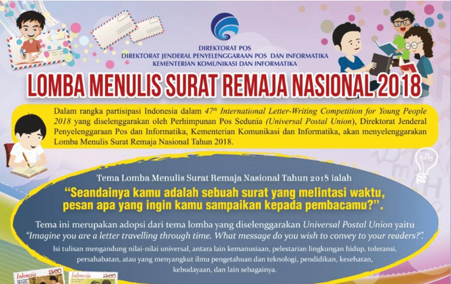 Dalam rangka pastisipasi Indonesia pada 47th International Letter Writing  Competition for Young People 2018 yang diselenggarakan oleh Perhimpunan Pos  ... d2f32de83a