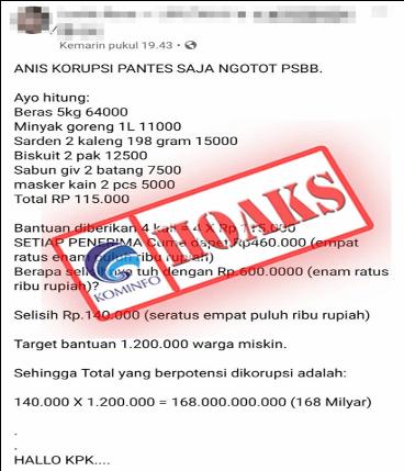 kominfo cekhoaks stophoaks Anggaran Bansos PSBB DKI Jakarta Berpotensi Dikorupsi