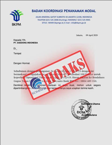 kominfo cekhoaks stophoaks Surat Permohonan Bantuan Mengatasnamakan Badan Koordinasi Penanaman Modal
