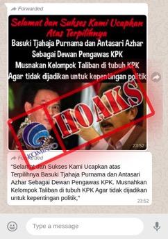 Beredar Kabar Ahok dan Antasari Azhar jadi Dewan Pengawas KPK, Kominfo: Hoax