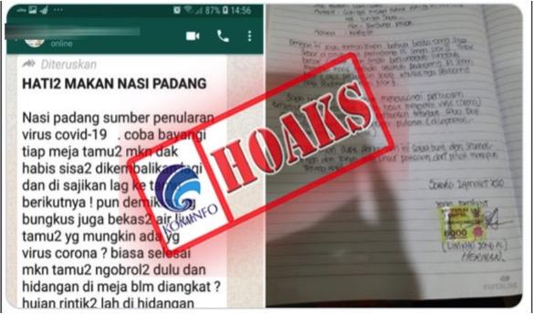 Tangkapan layar berita hoaks yang beredar lewat pesan singkat WA. (Foto: MP/kominfo.go.id)