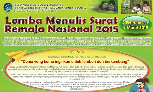 Peserta Lomba Menulis Surat Remaja Nasional Tahun 2015 yang Lolos Tahap Pertama