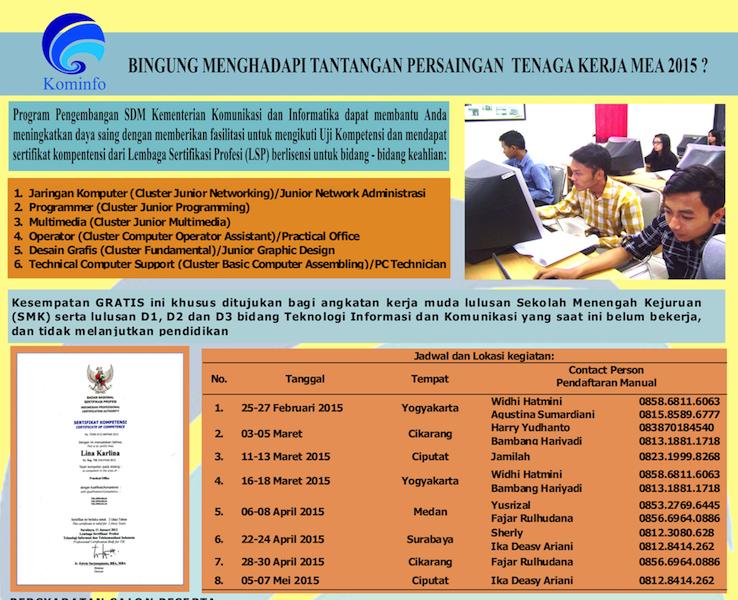Pengumuman Fasilitasi Sertifikasi Kompetensi Bidang TIK