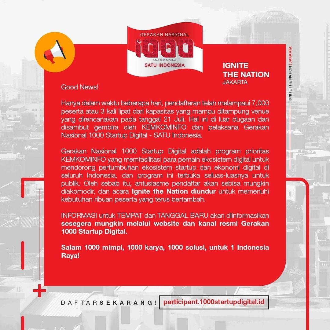 Gerakan Nasional 1.000 Startup Digital 2019 Diundur